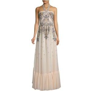 BCBG G  Embroidered Halter Gown s 4